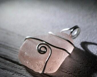 Pink Sea Glass pendant - Sea glass jewelry - Wire Wrapped sea glass - Boho jewelry - Boho style - Light pink beach glass - Gift beach lover