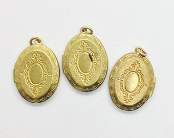 5 pc LOT! Vintage Locket Oval plain Deadstock New Old Stock nos. Old gold. Solid brass. Statement Pendant. Supplies. DIY. m5