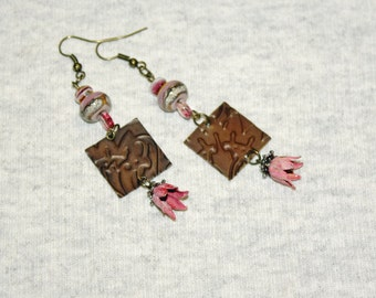 "PINK LILY Boho Earrings Brass and Lampwork Bead 3"" Dangles Gypsy Girl Festival Bohemian Earrings"