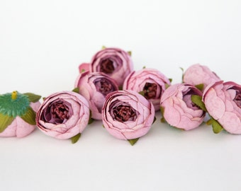 10 Small Vintage Inspired Ranunculus Buds in Lavender Pink - silk artificial flower - ITEM 01010