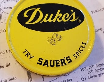vintage advertising dukes sauer spices jar lid metal tin regular mouth mason grocery packer yellow navy screw cap grocers store found object