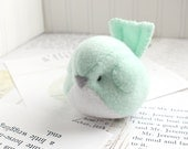 Kawaii Plush Bird Handmade Bird Stuffed Animal Plush Bird Mint Green Bubbletime Plush Fleece Bird