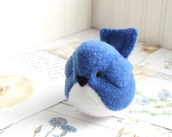 Bluebird Kawaii Plush Bird Royal Blue Cobalt Blue Handmade Blue Bird Stuffed Animal Plush Bird Bubbletime Plush Fleece Bird