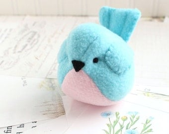 Pink and Blue Fleece Bird Handmade Stuffed Animal Blue Bird Plushie Bluebird Stuffed Animal