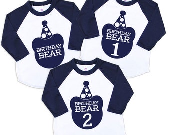 Birthday Bear Baby Navy Blue Raglan Sleeve Baseball TShirt with Navy Blue Print - Infant and Kids Sizes - First Second Birthday Party Gift