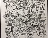 Wrestlepalooza gigposter original drawing