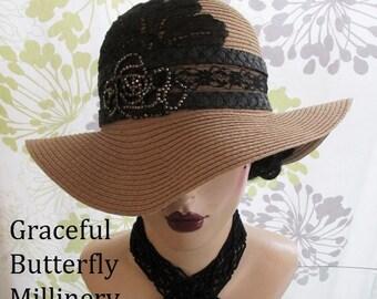 Vintage Lace & Marcasite Rose Hat