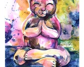 "Buddha Cat Art, painting art archival Giclée Cat print from original painting ""Buddha Cat 11""  by Kathy Morton Stanion EBSQ"