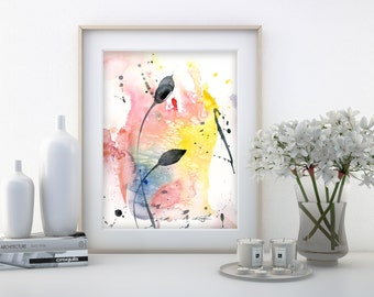 """Abstract leaf Watercolor Painting, Minimalist floral art, plant, nature, blooms, """"Organic Abstract 110"""" by Kathy Morton Stanion EBSQ"""