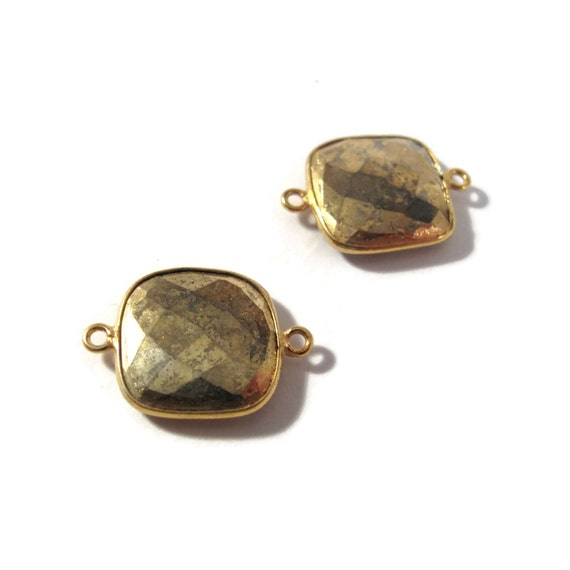 Two Pyrite Charms, Square Fool's Gold Pendant with Gold Plated Bezel, 2 Faceted Double Sided Gemstones (C-Py2c)