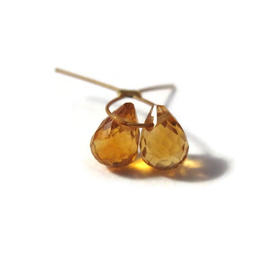 Two Little Citrine Beads, 2 Tiny Faceted Briolettes, Matched Pair of 5mm x 3mm - 8mm x 5mm Gemstones for Making Jewelry (B-Ci1d)
