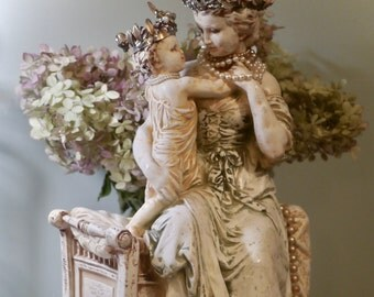 Shabby French Inspiration - Mother and Child Table Statue - Crowned Shabby Decor - Hand Made Crowns-