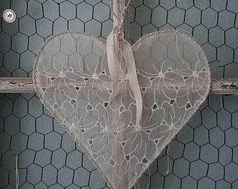 Love Stitched Heart - Juliet - Shabby Chic Romantic Wire Heart with Vintage Lace for Valentine's Day, Wedding, and Home Decor