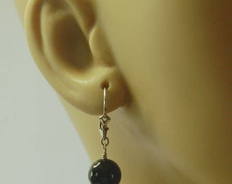 Semi precious 10mm black Onyx rounds and sterling silver lever back earrings for pierced ears