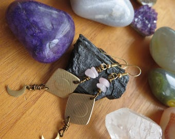Musical Jewelry - Music - Made from Drum Cymbals - Reclaimed - Gold Filled Hooks - Rose Quartz Moon Luna -  Musician Gift - Funky OOAK Boho