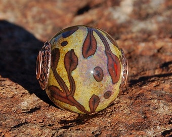 Autumn Breeze -  Cored 'n Capped K O Lampwork Big Hole European Style Charm Bead