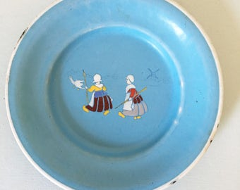 German child's plate dish antique vintage blue enamel design two dutch girls chasing a goose white rim white edge blue and white chippy