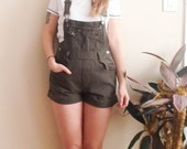 1990's Green Squeeze Denim Overalls / Overall Shorts / Playsuit / Women's Small or Medium / Size 6 8 / Shorts / Jeans / Military / Olive