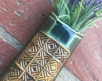 Copper Teal Wall Vase with Geometric Quilt Design