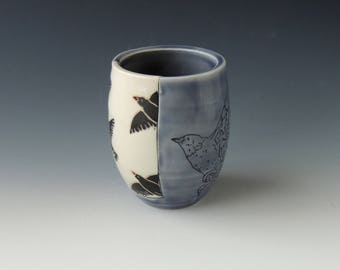 Bird Wine Tumbler - ceramic porcelain clay cocktail cup with starlings - handmade wheel thrown pottery