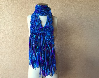 "Blue and Purple Scarf with Teal Turquoise Ribbon Scarf, Fringe, some Black, Hand Knit Crickets Creations Scarf ""Lavender Lake"""