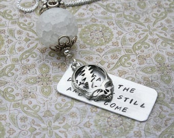 Crazy Fingers Steal Your Face necklace Grateful Dead song lyrics hippie jewelry hand-stamped aluminum pendant
