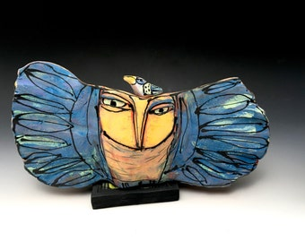 """Clay Owl sculpture / Owl Figurine, whimsical owl art, ceramic owl art, """"Owl Opening to Transformation"""", 9-1/4"""" wide"""