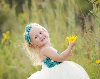 Teal Ivory Flower Girl Tutu Dress, Baby Toddler Wedding - Custom Flower Girl Gown