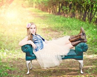 Champagne Tutu Girls, Beige tutu toddler tulle skirt, Choose any length.