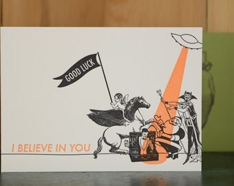 Believe in You - letterpress good luck card