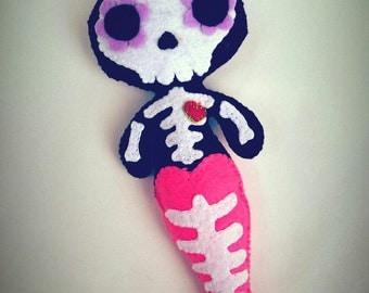 Mermaid Skeleton Day of the Dead Handmade from Felt Art Doll