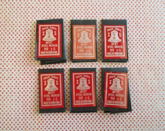 SALE 6 Little Vintage Packets of Steel Needles No. 1-5 Made in Hong Kong