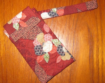 iPhone 6, 7 Quilted Sleeve with Wrist Strap Japanese Fabric Peonies Design Brick Red