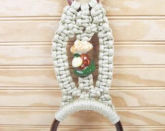 Vintage Macrame Towel Holder Rack Mushroom Ceramic Bead Marbella Plastic Rings Retro