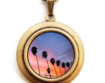 Cali Nights - Palm Tree Silhouette At Dusk Photo Locket Necklace
