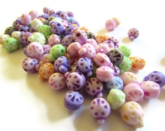 100 8mm Mixed Color Plastic Ladybug Beads Animal Beads Cute Acrylic Lady Bug Beads Assorted Color Insect Beads