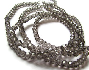 99  4mm Grey Crystal Beads Faceted Round Beads Full Strand Round Crystal Beads Glass Beads Jewelry Making Beading Supplies Gray Beads