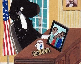 President Bo Obama in Oval Office Note Card - Folk Caricature White House President Art Democrat USA Barack Portuguese Water Dog