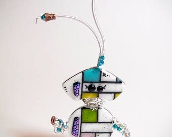 Dragonfly Robot Sculpture Fused Glass Kilnformed Mixed Media Decor Handmade Original Art Sterling Silver Wire Wrapping Steampunk Industrial