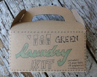 laundry kit with wool dryer balls, soap nuts, and instructions