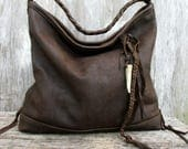 Antiqued Leather Bag in Dark Brown Rustic Leather by Stacy Leigh