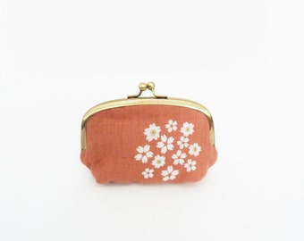 Coin purse, blossom, dusty pink and white blossom fabric, cotton purse
