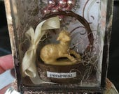 Easter Lamb Vintage Glass Shadow Box Soldered