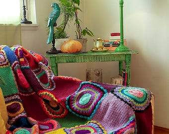 Bright Multicolor Throw, Afghan, Crocheted Blanket