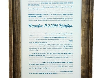 FRAMED Wedding Vows, Framed Keepsake, Rustic Barnwood Frame, One Year Anniversary, Personalized Gift, Paper Anniversary - Vertical #1502