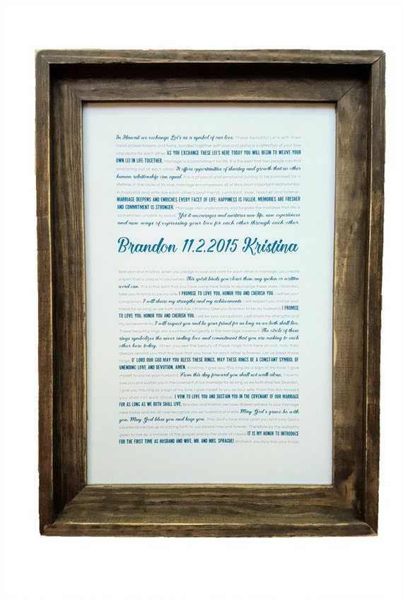 FRAMED Wedding Vows Framed Keepsake Rustic Barnwood Frame