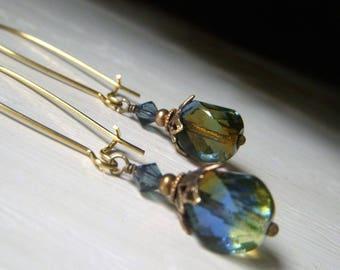 Two Tone Earrings, Czech Glass Earrings, Amber and Blue Glass Earrings, Brass Earrings, Vintage Style Dangle Earrings