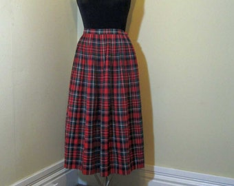Vintage 50s Jantzen Red Tartan plaid Skirt vintage wool Plaid Skirt 50s pleated wool knife pleats 50s red pleated skirt preppy classic M