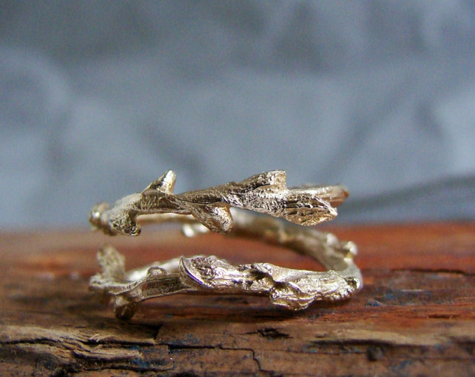 14k Gold Twig Ring Branch Ring Double Branch Thorn Ring Elvish Ring Luxury Gifts