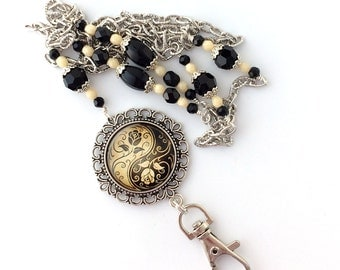 Black and Tan Silver Filigree Pendant - Silver Chain with Beads ID Badge Lanyard
